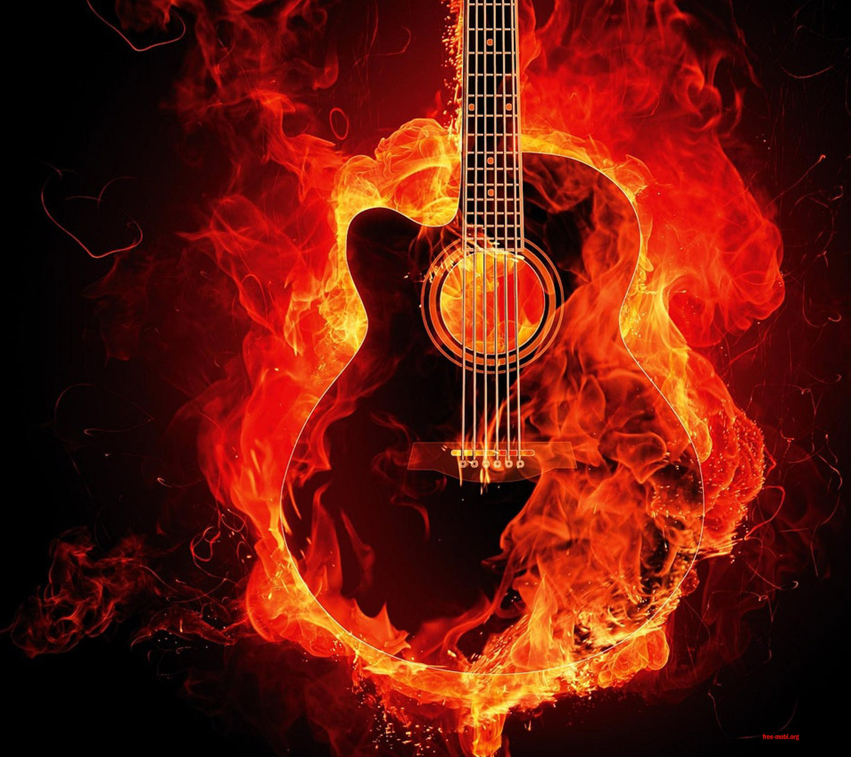Gitarre im Feuer