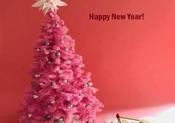 Happy New Year pink tree